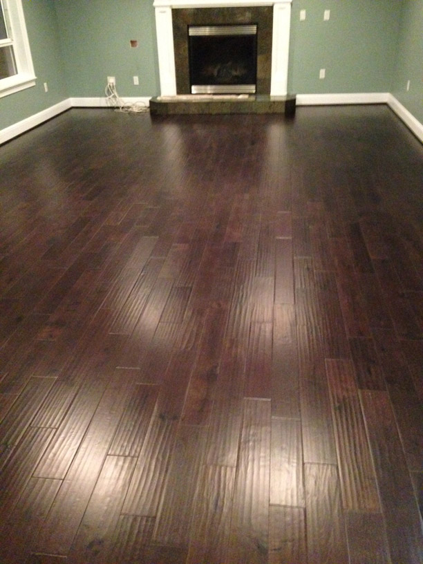 Dark Walnut Stain On White Oak Wood Calhoun Hardwoods